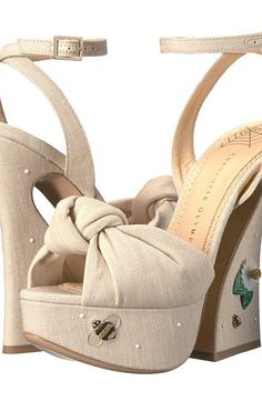 Charlotte Olympia Floral Vreeland (Natural Linen) High Heels - Charlotte Olympia, Floral Vreeland, C175067-101, Footwear Open 2-3 inch heel, 2-3 inch heel, Open Footwear, Footwear, Shoes, Gift - Outfit Ideas And Street Style 2017