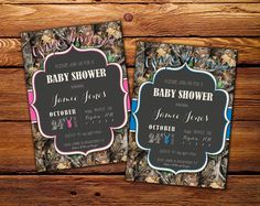 Printable Baby Shower Invitation // Pink Girl Invite // Blue Boy Invite // Hunting Camo Invite // Realtree Inspired // Printable Invite!   by andreahenebrydesign on Etsy   https://www.etsy.com/listing/244914947/printable-baby-shower-invitation-pink