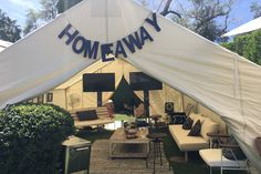 Lucky Lounge Presents: Desert Jam: A tent activation for sponsor HomeAway was meant to evoke the comfy, residential feel of the rental booking site's properties at the Lucky Lounge, produced by BMF Media.