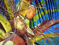 Art Original Watercolor Painting of TROPICAL COCONUT by KarinzART, $400.00
