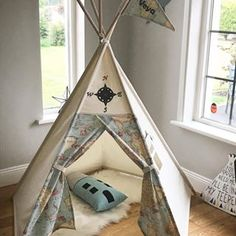 Child's Teepee play tent with compass and map design. All wooden poles included!
