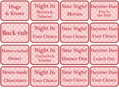 Free Printable Love Coupons for Couples on Valentines Day  Free