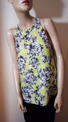 J.Crew Chartreuse Lime Green Floral Waffle Airtex Vest Party Top Size 12 14 US 8 #JCrew #VestTopStrappyCami #Casual