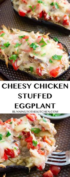 Try this easy stuffed eggplant dinner with chicken and cheddar cheese, everyone will love it!