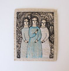 bird song  a portrait of three figures in a garden  by cathycullis, Cathy cullis