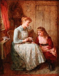 Robert W. Wright ~ The Crochet Lesson ~ Oil Painting On Board ~ Royal Academy And Royal Society of British Artists. Oil Painting For Sale, Victorian Art, Crochet Art, Illustration Art, 1, Hand Painted, Fine Art, Pictures, Knitting