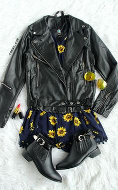 BLack Faux Leather Belted Moto Jacket With Zipper with sunflower jumpsuit and black boots from romwe.com