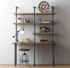RH Baby & Child's Industrial Pipe Single Desk & Shelving:Sturdy steel pipes and matching cast fittings serve as the structure for our hardworking pieces, while warm wood planks provide support for books and a workspace for the industrious. Industrial Pipe Desk, Industrial Design Furniture, Vintage Industrial Decor, Industrial Shelving, Pipe Furniture, Industrial House, Industrial Style, Furniture Stores, Industrial Windows