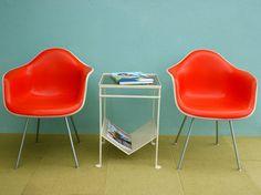 birdies! (Amazing bright red-orange pair of original Herman Miller, Charles Eames design set of 2 shell chairs)