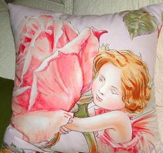 ROSE FAIRY Throw PILLOW Cover 20 x 20  Cotton by AVintageLook, $20.00