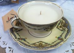 Adorable vintage teacup candles from Reclamation Candle Company on Etsy and reclamationcandlecompany.com