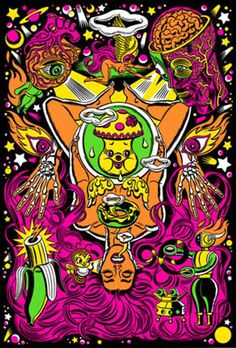 For all your hippie needs, I came out with 4 actual working black light posters where I truly tried to get inside the black light mindset. Illusion Kunst, Illusion Art, Modern Surrealism, Pop Surrealism, Psychedelic Drugs, Black Light Posters, Psy Art, Lowbrow Art, Hippie Art