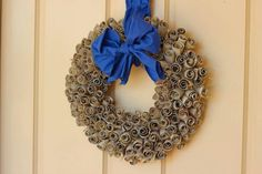 Wreath made from upcycled toilet rolls!