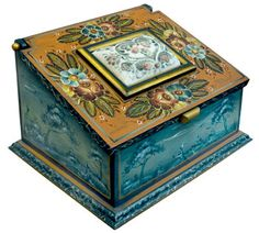 made by Jo Sonja - Style Valdres rosemaling-  Did this box in Seminar w/Jo Sonja and had a ball. - Sandy