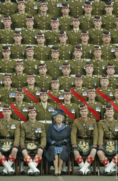 HRH Queen Elizabeth II Britain's poses at Howe Barracks in Canterbury, Kent with the 1st Battalion of The Argyll and Sutherland Highla...