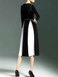 White Plain V neck Long sleeve Sheath Work Color-block Silk Two Piece Midi Dress