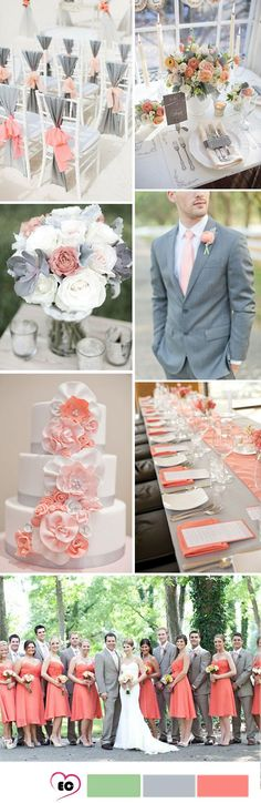 This coral and grey wedding color palette is to die for! Soft yet bright, warm and cool, all at once.