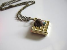 Waffle Chocolate Ice cream. Sweet Dessert 3D Metallic Pendant with encrusted colourful gems. Gold Pendant Necklace