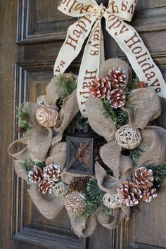 Burlap winter wreath Burlap lantern wreath by theembellishedhome