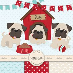 Set of 14 large, high quality pug dogs and coordinating banners, hand drawn by me. Also includes 4 coordinating digital papers, also made by me.