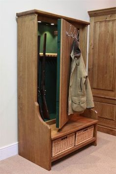 For all my gun-fan friends out there/(dad this means you). this is for you :-) :-) Bench Seat Gun Cabinet or just for storage. I'm thinking guns & ammo though. Hidden Gun Safe, Hidden Gun Storage, Weapon Storage, Secret Gun Storage, Hidden Weapons, Storage Rack, Food Storage, Storage Ideas, Hidden Spaces