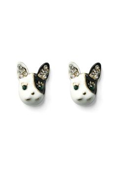 Crystal Dog Head Earings - Accessory - Retro, Indie and Unique Fashion