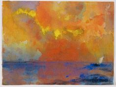 Emil Nolde TitleSea in the Evening Sunlight Datec. 1938 - 1945 Materialwatercolor
