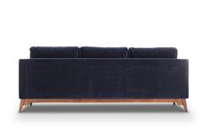 Backside Chantelle in Velvet Cotton Navy.  Style/Type - Mid-century modern velvet sofa / couch / 3 seat sofa