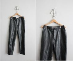 1980s vintage black leather moto pants