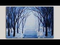 Snowy winter forest path acrylic painting. Painted with light blue, navy blue, white and black acrylic craft paints on watercolour paper. This is a winter ve...