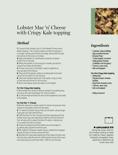Lobster Mac'n'Cheese with Crispy Kale Topping - using the lobster shells really enriches the stock, whilst the lobster itself is steamed to perfection Fresh Lobster, Lobster Mac And Cheese, Steam Recipes, Grated Cheese, Kale, Vitamins, Shells, Cooking Recipes, Food