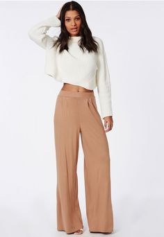 Pleated Waistband Jersey Wide Leg Trousers Camel - Trousers - Missguided