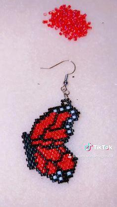 Beaded Earrings Native, Beaded Earrings Patterns, Beading Patterns, Bead Embroidery Jewelry, Beaded Embroidery, Handmade Beaded Jewelry, Beaded Animals, Butterfly Wings, Bead Weaving