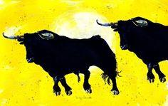 'Toro yellow duo 2' von April Turner bei artflakes.com als Poster oder Kunstdruck $27.72