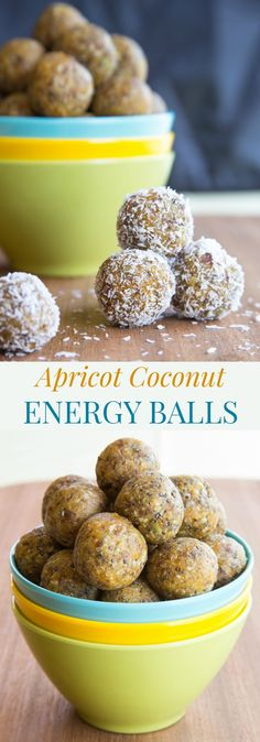 Apricot Coconut Energy Balls recipe. A quick and easy healthy snack recipe perfect for grabbing on-the-go or packing in a lunchbox. They're gluten free, grain free, nut free, dairy free, and vegan!