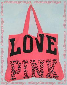 Victoria's Secret ♥ LOVE PINK ♥ neon pink TOTE / Book / Shopper / Beach /Gym Bag   eBay