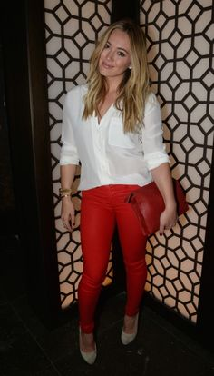 Paint it Red: Hilary Duff wearing J BRAND's new cCoated denim for fall. #FallforJBRAND