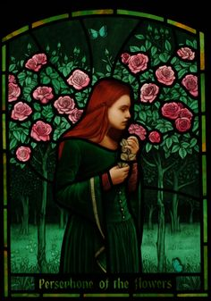 """""""Persephone of the Flowers,"""" painted & fired stained glass by Brian James Waugh, Glasgow, UK"""
