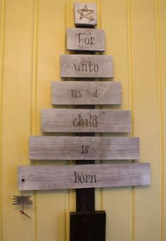 """cute scrap wood christmas sign """"Oh come let us adore Him"""" """"Oh come all ye Faithful"""""""