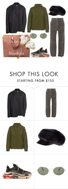"""Untitled #1319"" by sebende ❤ liked on Polyvore featuring Vetements, Boutique Moschino, Eugenia Kim, Balenciaga and Ray-Ban"