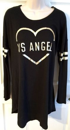 Victorias Secret Small VS Angel Heart Black Long Sleeve Night Sleep Shirt Soft S  | eBay