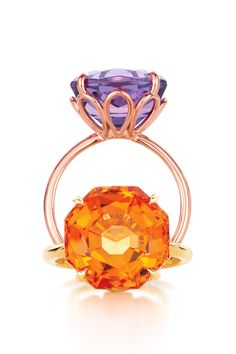 Think big. Tiffany Sparklers rings in 18k rose gold with an amethyst and in 18k gold with a citrine. #TiffanyPinterest