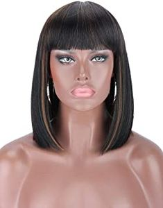 Short Bobs With Bangs, Bob With Bangs, Wigs With Bangs, Hairstyles With Bangs, Hair Bangs, Haircuts, Short Human Hair Wigs, Short Bob Wigs, Wig Bob