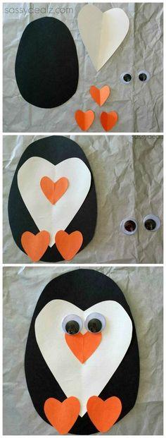 zimowe prace plastyczne - pingwin z serc