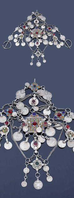 Morocco - High Atlas, Ait Ouaouzguite | Headdress; silver, enamel and glass cabochons, with coins dated 1329H / 1910 and on the fibulae the coins date to 1320 H / 1902 | 744€ ~ sold (May '15)