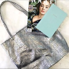 Metallic Silver Faux Snake Tote Perfect condition - matching scarf included! Bags Totes
