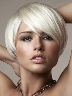 Bleached blonde short cut. For the cut use Marc Young Opus cutting system No's 2 4 7 8