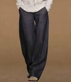 Solid Color Straight Linen Pants - Bottoms