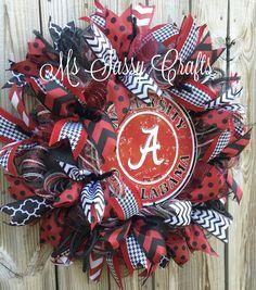 Alabama Wreath Alabama Deco Mesh Wreath by MsSassyCrafts on Etsy
