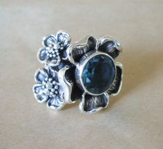 Maria Elena Munoz Sterling Silver Flowers & Blue Crystal Ring Sz 6.5 Taxco Artisan | eBay